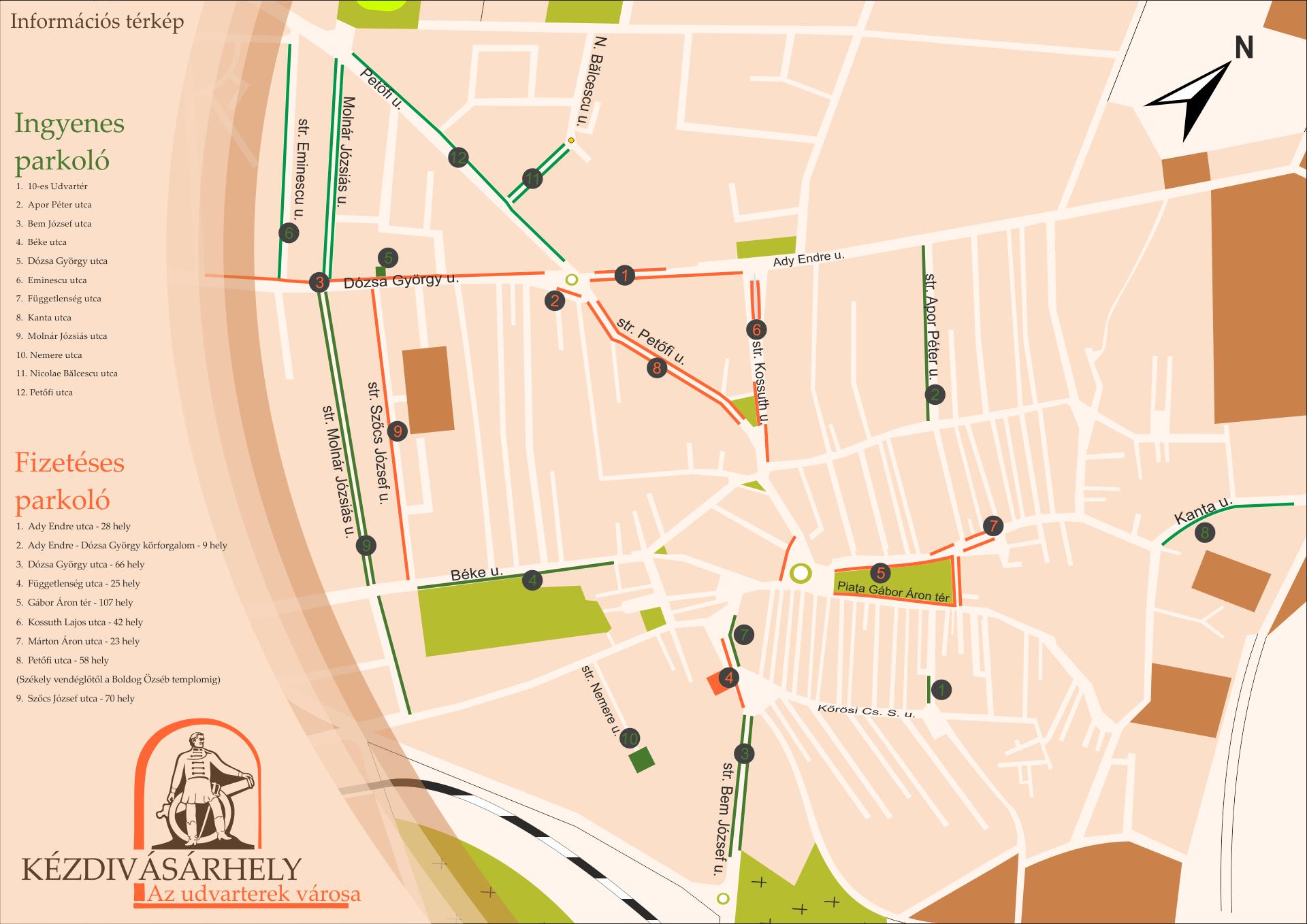 Információs térkép – parkolók